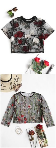 Up to 80% OFF! Floral Sheer Crop Mesh Blouse. #Zaful #Tops zaful,zaful outfits,tops,bodysuit,bodysuit outfit,leotards,thong bodysuit,lace bodysuit,blouse,blouse outfit,embroidered blouse,floral blouse,shirts,T-shirt,Tees,tank tops,crop top,outfits,women fashion,summer outfits,spring outfits,spring fashion,girl clothing,outfit ideas,clothes,clothing,casual,casual outfits,2018 fashion,2018 trends,christmas2017,christmas outfits,xmas,New Year Eve, New Year 2017.@zaful Extra 10% OFF Code:ZF2017