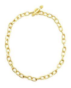 "Volterra 19k Gold Link Necklace, 17""L  by Elizabeth Locke at Neiman Marcus."