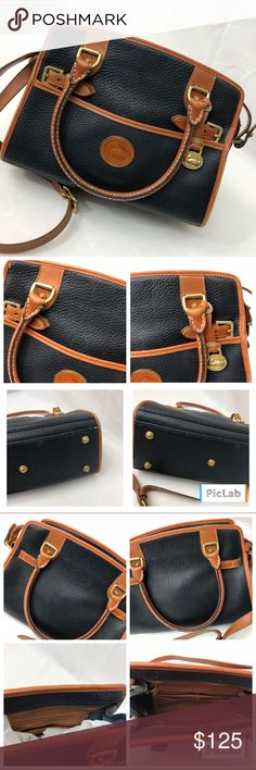 """Dooney & Bourke Satchel Authentic, Excellent quality, Perfectly classic Dooney & Bourke Navy satchel. Fantastic condition with minor scuffs here and there. Everything is pictured so please take your time and view all the pictures. Length measured across the bottom 11 1/2"""". Width4"""". Height 8"""". Handle drop 5 1/2"""". Strap drop 20"""" when set at shortest length. Dooney & Bourke Bags"""