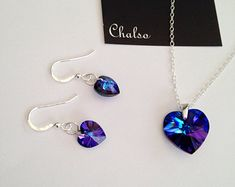 Sterling silver necklace and earrings with sparkly Heliotrope Swarovski hearts, blue heart, purple heart, Crystal anniversary gift