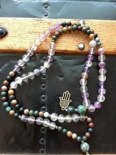 Hand Necklace Meditation Prayer Mantra Mala beads by CindersBeads, $50.00