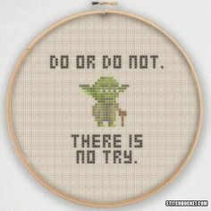 Yoda Do Or Do Not There Is No Try Star Wars Cross Stitch Pattern - Instant Download PDF