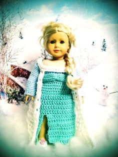Disney Frozen Elsa Inspired Dress and Cape for American Girl Dolls by BittyBeanies on Etsy https://www.etsy.com/listing/174520002/disney-frozen-elsa-inspired-dress-and