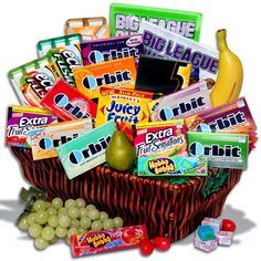 Gum gift basket, this is my dream basket!   Minus The fake fruit  !