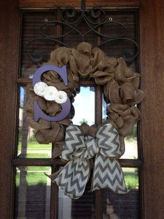 Burlap Ribbon Wreath with Initial  by AmericanHoney2012 on Etsy, $45.00