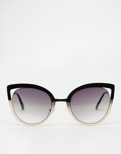 Image 2 of ASOS Metal Cat Eye Sunglasses With Color Block Frame And Cut Away…