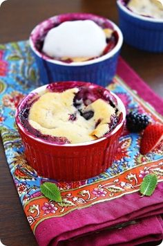 mini berry cobblers- made these in my ramekins, they were perfect!