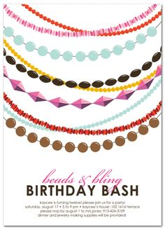 jewelry/beading birthday party invitations | merry heart 2, Party invitations