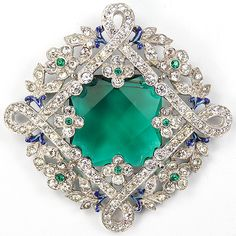 Trifari 'Alfred Philippe' Pave and Emeralds Maze Pattern and Flowers Emerald Crystal Pin 1938