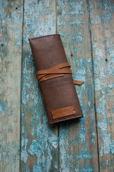 Leather Pen Pencil Roll Case Leather pen case by MananaBooks