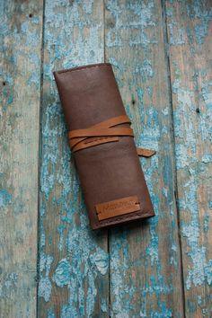 Leather Pen Pencil Roll Case, Leather pen case, Pencil Holder