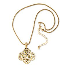 TREFOIL FILIGREE GOLDTONE NECKLACE- $12.00.