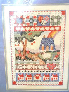 New Sunset Country Home Sampler Cross Stitch Home Is Where The Heart Is Aida | eBay