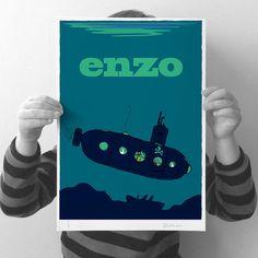 personalised 'submarine' print by jenkini - childrens personalised art | notonthehighstreet.com