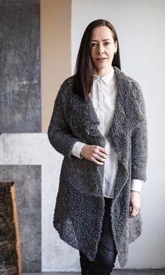 Helppo neuletakki – katso ohje! | Meillä kotona Handicraft, Knit Cardigan, Knit Crochet, Sewing Patterns, Fur Coat, Sweaters, Jackets, Crocheting, Knitting Ideas
