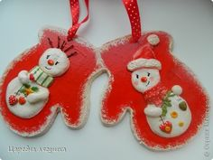 Поделка изделие Новый год Лепка Снеговики и подковы  Гипс Гуашь Ленты Тесто соленое фото 5