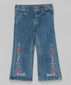 Love this Denim Floral Embroidered Flare Pants - Toddler & Girls by Mulberribush on #zulily! #zulilyfinds