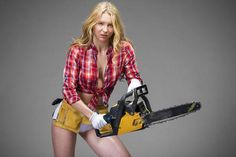 Picture of Satisfaction project. Beautiful hot blond woman hold a chainsaw over gray background isolated stock photo, images and stock photography. Chainsaw Mill Plans, Stihl Chainsaw, Pin Up Tattoos, Work Tools, Gray Background, Pose Reference, Hold On, Small Tractors, Mod Girl