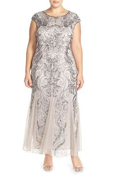 Free shipping and returns on Pisarro Nights Beaded Gown at Nordstrom.com. Flourishes of glittering beads and sequins trace exotic shimmer over a lovely mesh gown cut with a godet-flounced silhouette.