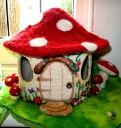 FAIRY TOADSTOOL HOUSE WORKSHOP       In this workshop you will learn wet felting,   needle felting and other handwork techniques to   c...
