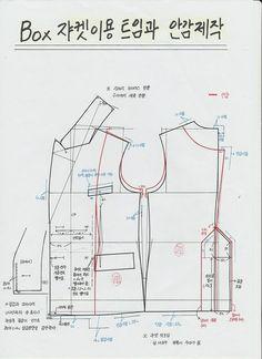 박스형 재킷에서 안감을 제작하는 방법과 뒷중심에 트임 주는 방식 올려 드려요 빨간색선은 안감선이고 스...