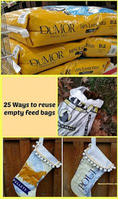 How to reuse empty feed bags. I like to recycle mine with these 25 best uses for empty feed bags. Feed Bag Tote, Feed Sack Bags, Reuse Old Tires, Reuse Recycle, Recycled Tires, Recycled Plastic Bags, Recycling Information, Recycling Ideas, Repurposing