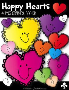 FREEBIE! Happy Hearts clip art is just perfect for Valentine's Day! There are 41 FREE png graphics created at 300 dpi. TeacherKarma.com #hearts #Valentine #clipart
