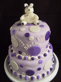 Polka Dot Teddy Bear Birthday Cake | The Twisted Sifter