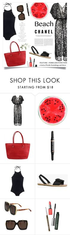 """""""Sun's Out: Beach Day"""" by violet-peach ❤ liked on Polyvore featuring Amir Slama, Bobbi Brown Cosmetics, J.Crew, Boohoo, Gucci, Clinique, Pier 1 Imports and beachday"""