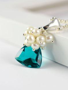 Teal Blue Bridal Necklace in Sterling Silver, Wedding Jewelry, Something Blue, Blue Room Gems Bridal  $98.00 (http://blueroomgemsbridal.com/kathleen-necklace-teal-blue-bridal-necklace-in-sterling-silver/)