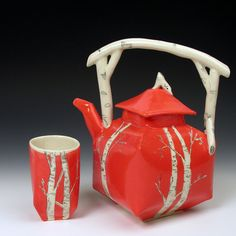 Funky Red Birch Teapot Great For Your Camping Trips Don