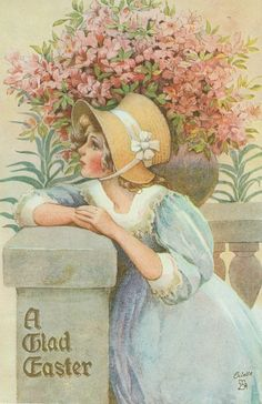 Vintage Images - a young lady wearing a light blue dress and straw bonnet leaning on a stone wall