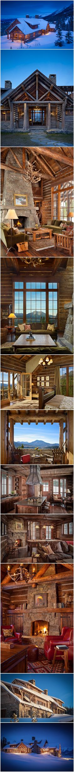 Custom Log Home Architecture by Miller & Co. Log Cabin Living, Log Cabin Homes, Log Cabins, Moonlight Basin, Dream Properties, Winter Cabin, Cabins And Cottages, Cabin Plans, Cabins In The Woods