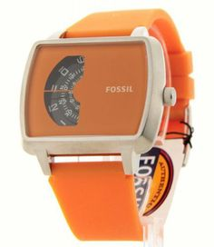 Fossil Spinning Disc Silicone - Orange Men's watch #JR1288 Fossil. $59.50