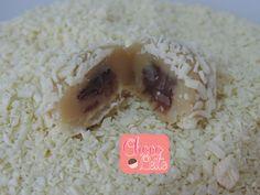 Brigadeiro gourmet de chocolate branco com creme de avelã