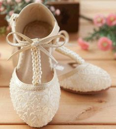 Handmade Pink Lace Flower Girl Shoes Ivory Flat Pearl Bridesmaid Wedding Shoes