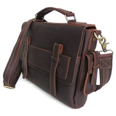 Vintage Handmade Genuine Oil Tanned Leather Briefcase Messenger Laptop Bag in Old Brownish Red $128.00