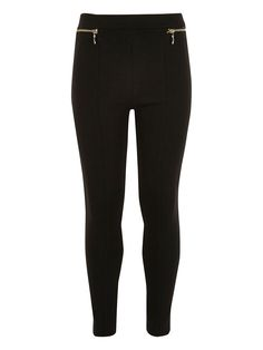 River Island Girls Ponte Zip Leggings Giving a casual classic a style update is this girls pair of ponte leggings by River Island. Ready to coordinate with any outfit in black, the ponte fabric is thicker than regular leggings for a trouser look, while the retro high-waist and zips to the hips add super-chic detail.She can wear these high-waisted leggings with T-shirts tucked in and a biker jacket for a cool weekend look.72% polyester, 23% rayon, 5% elastane