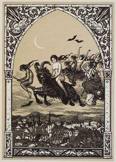 Witches flying to Sabbath,woodblock by Bernard Zuber in Maurice Garçon La  Vie Execrable de Guillemette Babin, Sorciere  Paris:H. Piazza,  1926 via Fantastic Library