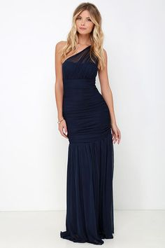 City Soiree Navy Blue One Shoulder Maxi Dress | To be, Blue ...