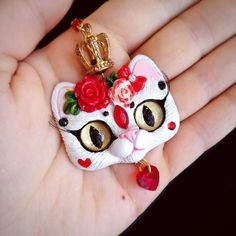 Red Queen OOAK kitty cat necklace handmade polymer clay pendant by FleurDeLapin