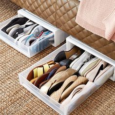New underbed shoe storage diy container store 62 ideas Shoe Organizer Under Bed, Under Bed Organization, Organisation Hacks, Small Space Organization, Closet Organization, Shoes Organizer, Organization Ideas For Shoes, Organizing Shoes, Craft Organization