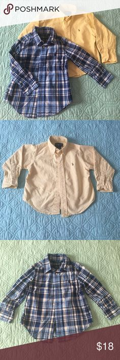 Ralph Lauren 2T Button Down Dress Shirts EUC Ralph Lauren Button down dress shirts. No stains, rips, or holes. Yellow shirt is a thicker fabric and blue plaid is more lightweight. Smoke free home. Ralph Lauren Shirts & Tops Button Down Shirts