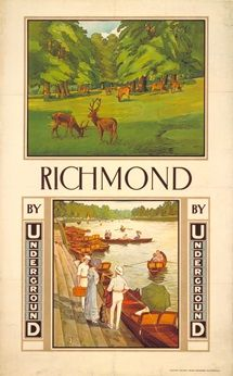 London Underground - Richmond by Underground - Alfred France Posters Uk, Railway Posters, Retro Posters, London Transport Museum, Public Transport, London Underground Tube, Museum Poster, Nostalgia, Retro Illustration
