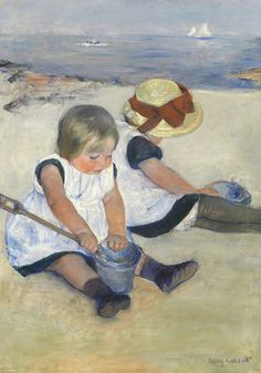 Children Playing on the Beach Mary Cassatt Puzzle (2 sizes: 250 and 500 pieces)