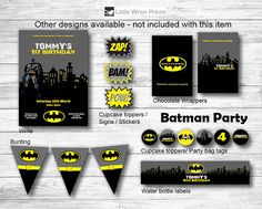 Batman party pack including Batman invitation, Pow Bam signs, chocolate wrapper, bunting/banner, cupcake toppers/stickers and drink wrappers.