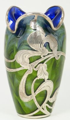 LOETZ TITANIA GREEN ART GLASS VASE SILVER OVERLAY ~ Antique Loetz Titania glass Bohemian blue & green vase with floral silver overlay. Vivid cobalt blue interior and green exterior to glass. Early 20th century.