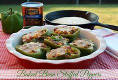 Mommy's Kitchen - Home Cooking & Family Friendly Recipes: Baked Bean Stuffed Bell Peppers @bushsbeans #stuffedpeppers #bakedbeans #DoneThis #bushbeans