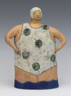 clay ceramic sculpture swimmer by sara swink