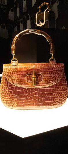 Gucci ~ Crocodile Bamboo Handbag, Summer 2014